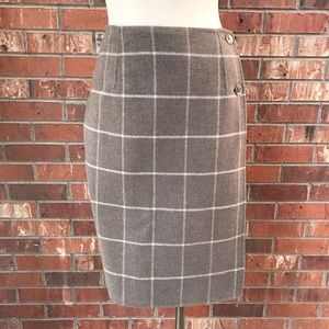 Pendleton windowpane check wool skirt taupe